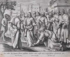 Adrian Collaert Martin de Vos 17th Century engraving Healing Touch of Jesus