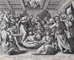 Adrian Collaert Martin de Vos 17th Century engraving Jesus Heals the Paralytic