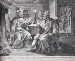 Adrian Collaert Martin de Vos 17th Century engraving Jesus & the Pharisee print