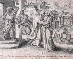 Adrian Collaert Martin de Vos 17th Century Engraving Mary Visits Elizabeth