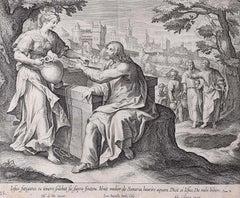 Adrian Collaert Martin de Vos 17th Century Engraving Samaritan Woman at the Well