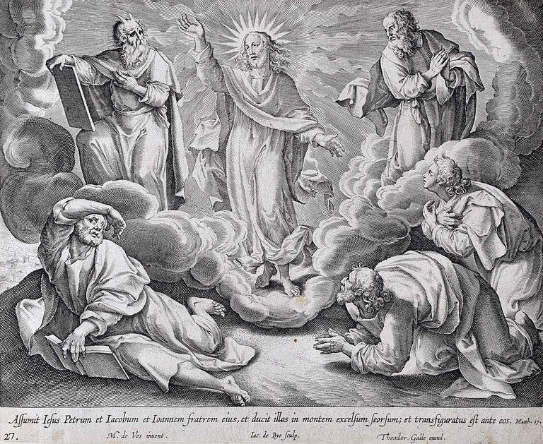 Adriaen Collaert Figurative Print - Adrian Collaert Martin de Vos 17th Century engraving The Transfiguration