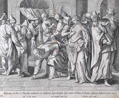 Adrian Collaert Martin de Vos 17th Century engraving The woman and the Pharisees