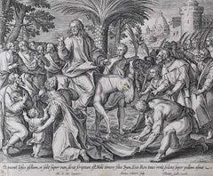 Adrian Collaert Martin de Vos 17th Century engraving Triumphal Entry Jerusalem