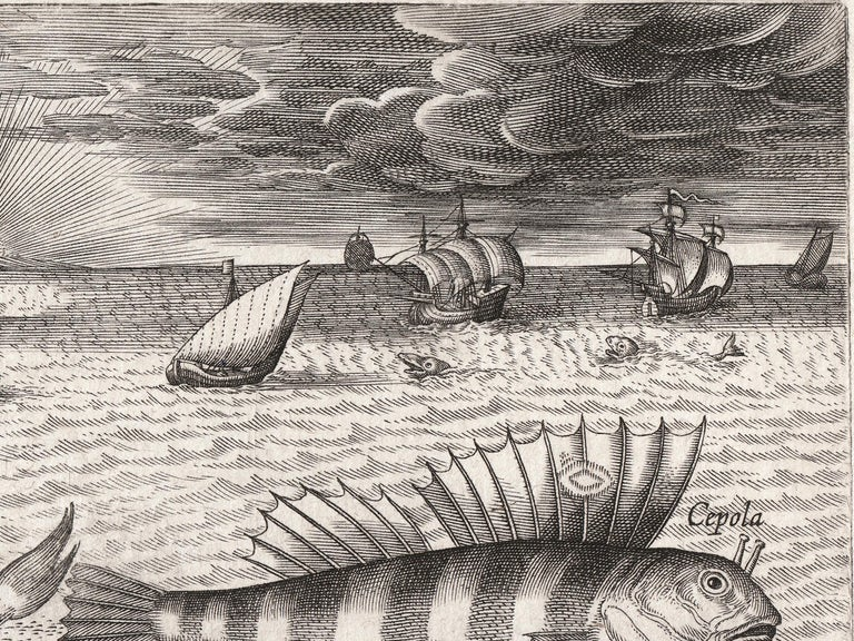 Antique engraving on laid paper uses dramatic perspective to highlight a series of fish and marine creature set against a fantastical, elaborate seascape; galleon ships sail off the coast of a medieval city. This late 16th to early 17th century
