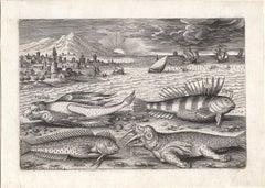 """""""Piscum Vivae Icones,"""" Antique Engraving of Fish, Marine Creatures, Seascape"""
