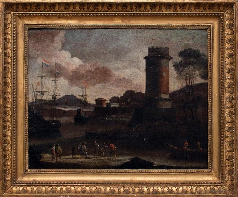 Port View with Tower - Original Oil on Canvas by Adriaen van Der Cabel - 1600 - Painting by Adriaen van der Cabel