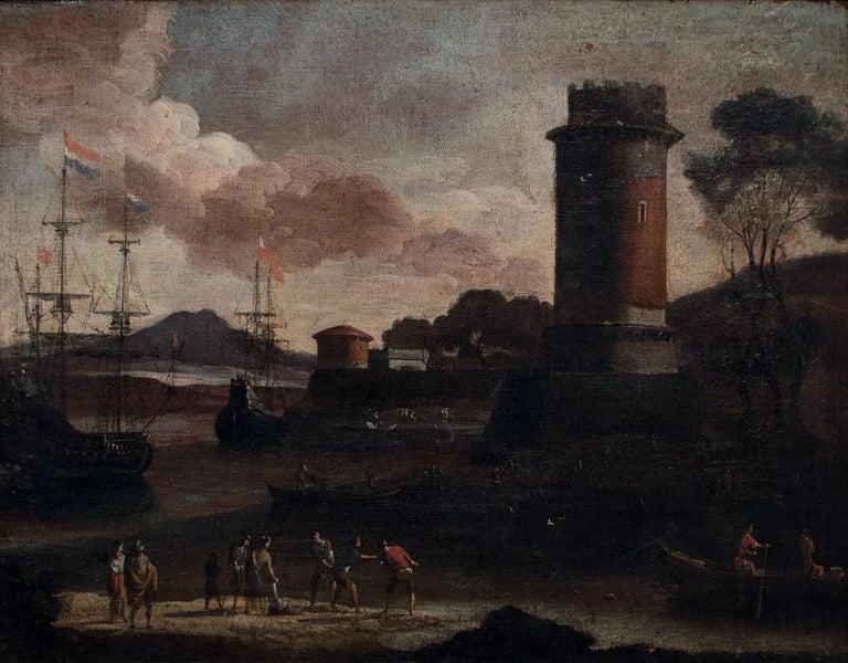 Adriaen van der Cabel Figurative Painting - Port View with Tower - Original Oil on Canvas by Adriaen van Der Cabel - 1600