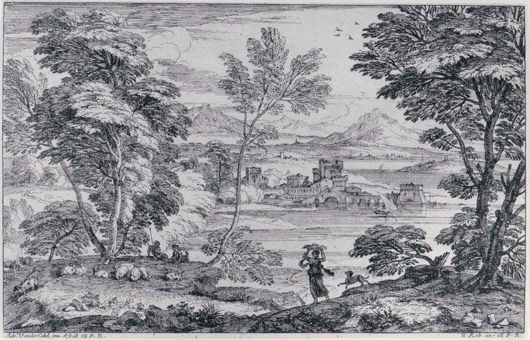 Adriaen van der Cabel Landscape Print - Landscape with a Maiden and her Dog