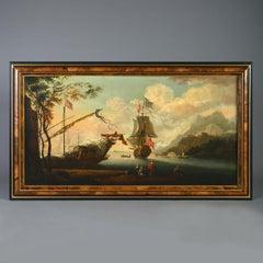 Attributed to Adriaen van Diest: A Port Scene - Oil on Canvas