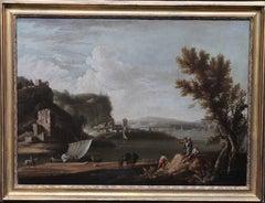 Riverscape Boats - Dutch art 17thC Old Master oil painting village capriccio