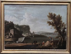 Riverscape Boats - Dutch art 17thC Old Master oil painting village capriccio