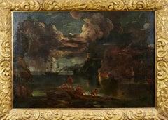 Huge 17th Century Old Master Oil - The Burning Ship Night time Marine Landscape