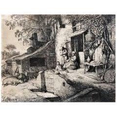 Adriaen van Ostade, Dutch Rural Everyday Scene, Etching, XVII Century