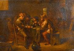 17th Century Dutch Old Master Oil Panel Tavern Interior Figures in Conversation