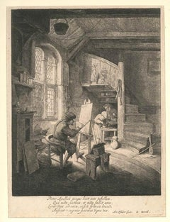Le Peintre - Original Etching y Adriaen van Ostade - 1664 ca.