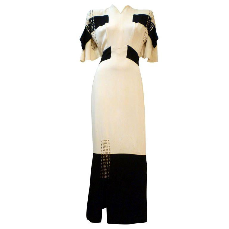 Adrian 1940s Cubist Inspired Black/White Gown w/ Sequin Blocks For Sale