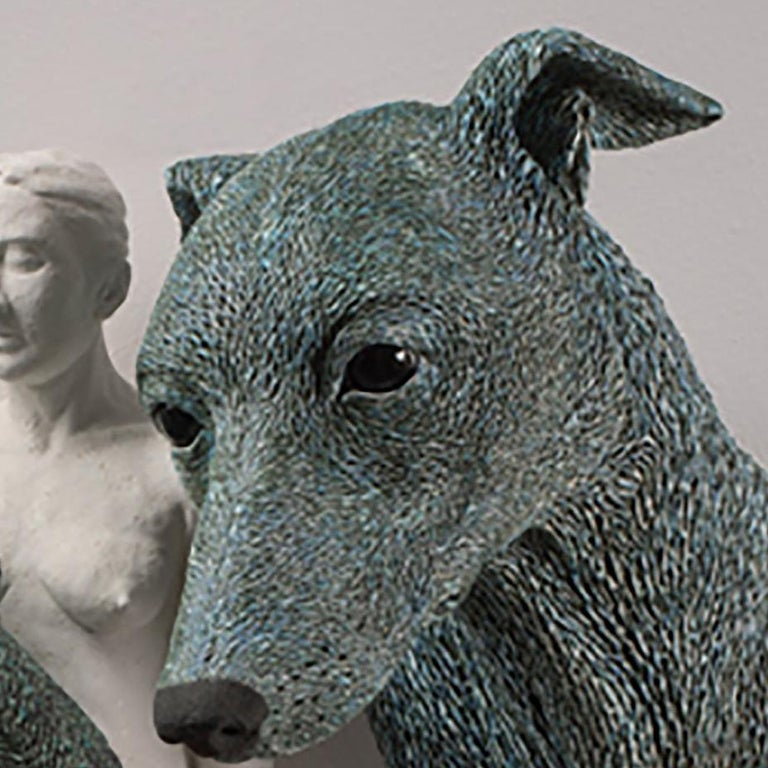 ANIMA AND ANIMUS - large ceramic sculpture - nude woman and two dogs (Greyhound) - Sculpture by Adrian Arleo