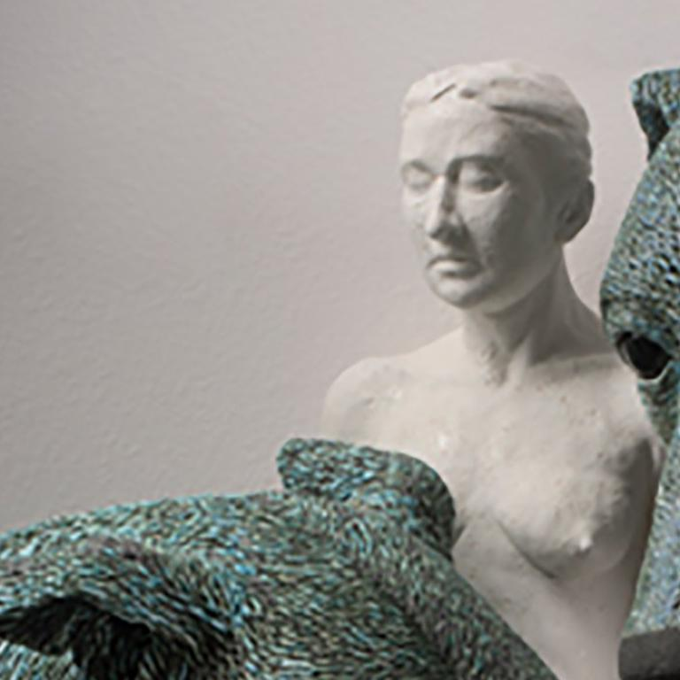 ANIMA AND ANIMUS - large ceramic sculpture - nude woman and two dogs (Greyhound) - Contemporary Sculpture by Adrian Arleo