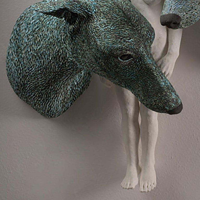 ANIMA AND ANIMUS - large ceramic sculpture - nude woman and two dogs (Greyhound) - Gray Figurative Sculpture by Adrian Arleo