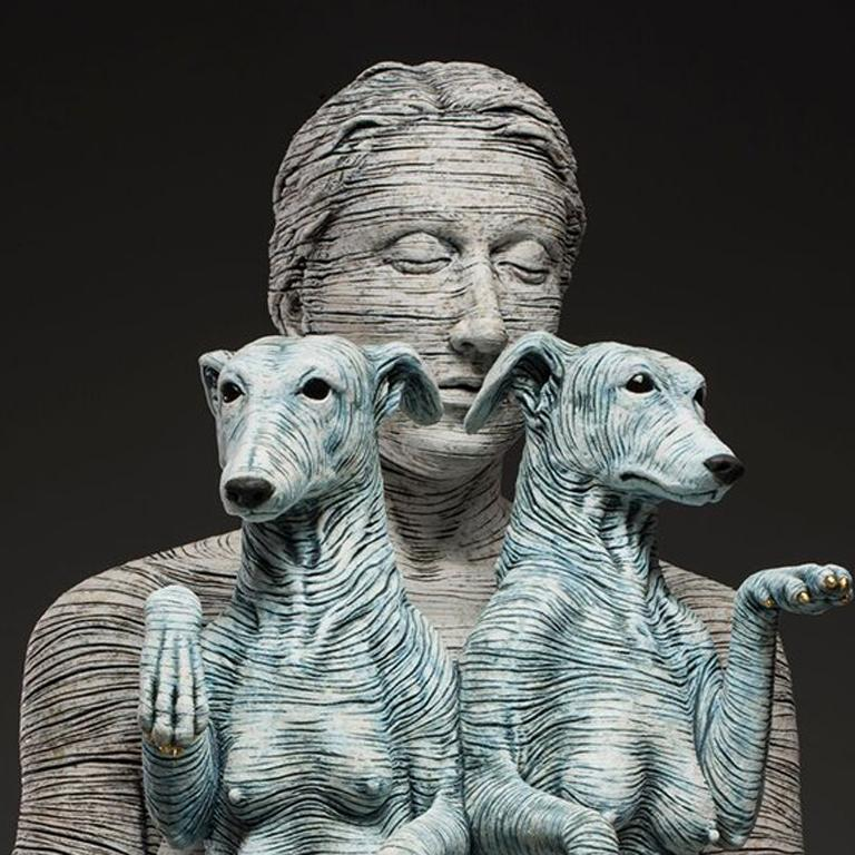 Artemis and Diana II - large ceramic sculpture of woman or goddess with dogs - Brown Figurative Sculpture by Adrian Arleo