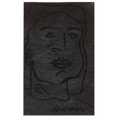 Adrian Black Portrait of Dora Maar Painting on Wood, 2017, Free Shipping