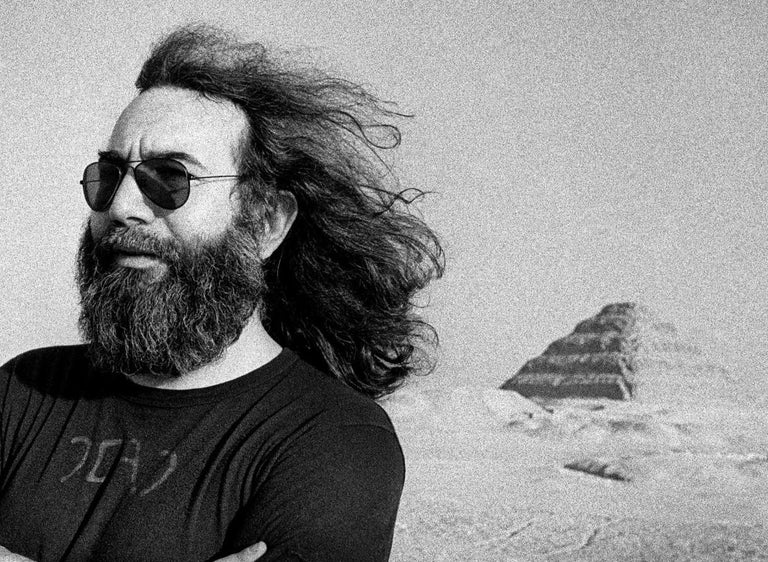 Jerry Garcia at the Pyramids - Photograph by Adrian Boot