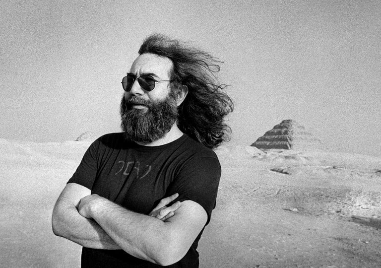 Adrian Boot Black and White Photograph - Jerry Garcia at the Pyramids