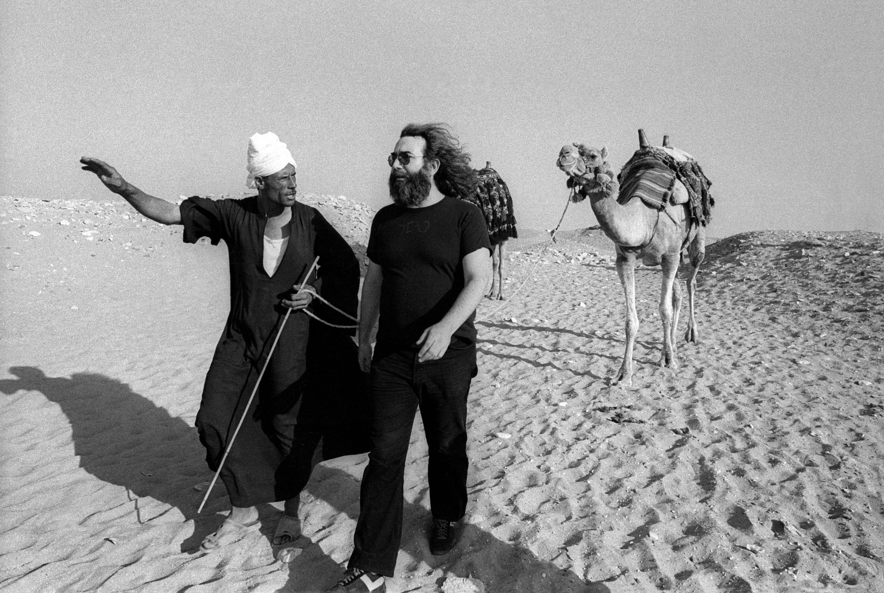 Jerry Garcia with guide at the Pyramids