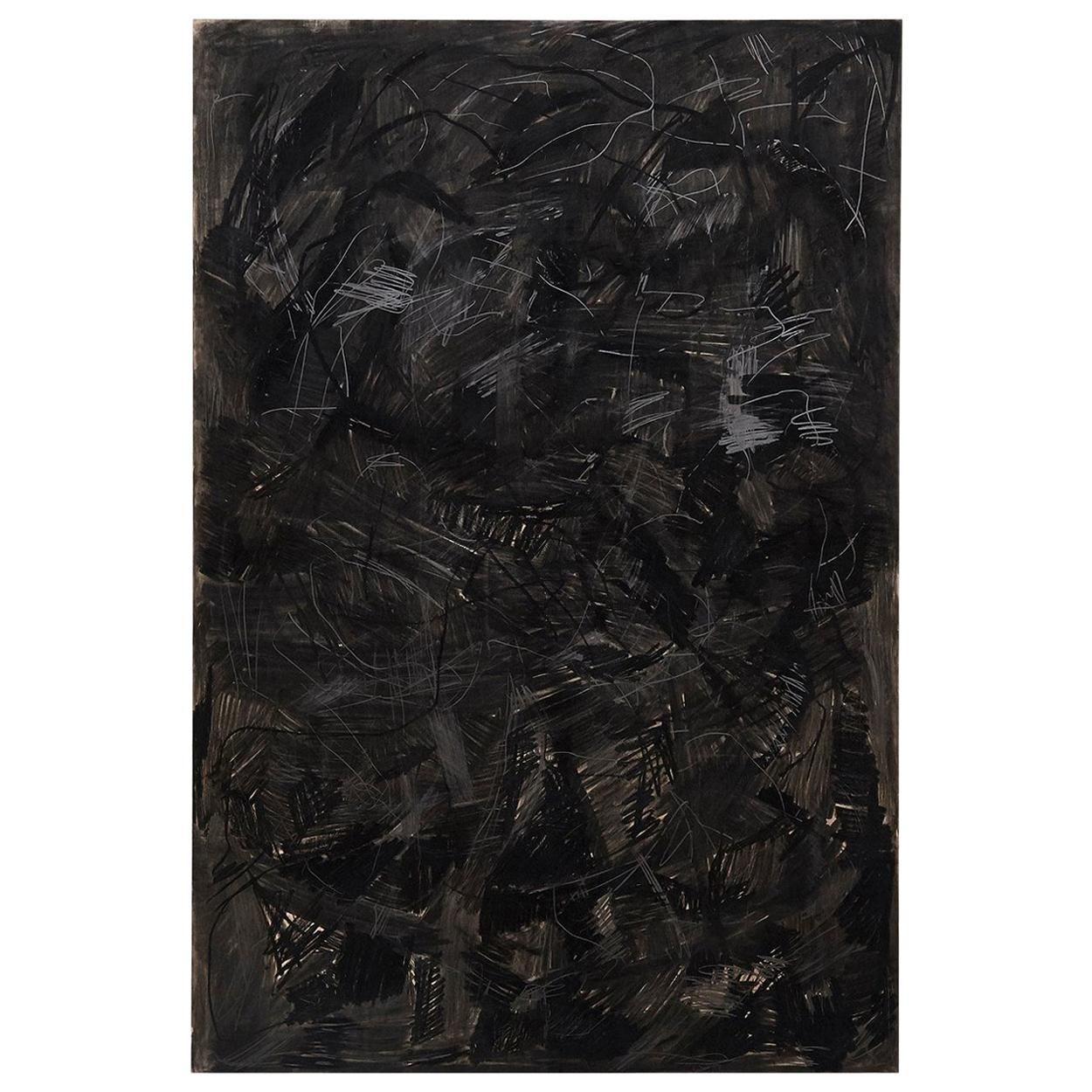 Adrian Contemporary Abstract Black Mix-Media Large Painting