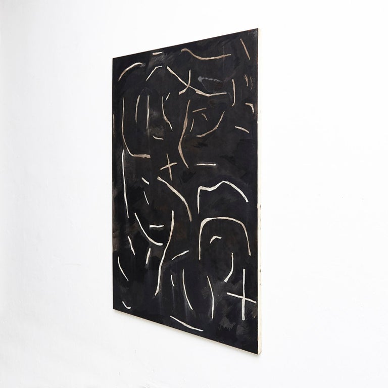 Mid-Century Modern Adrian Contemporary Art Abstract Black Painting on Wood For Sale