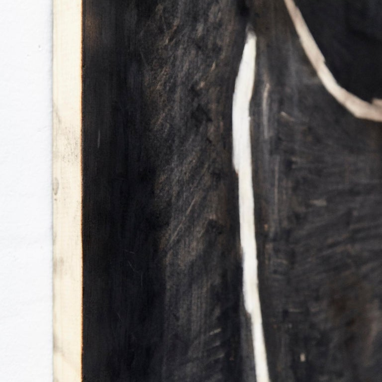 Adrian Contemporary Art Abstract Black Painting on Wood In Good Condition For Sale In Barcelona, Barcelona