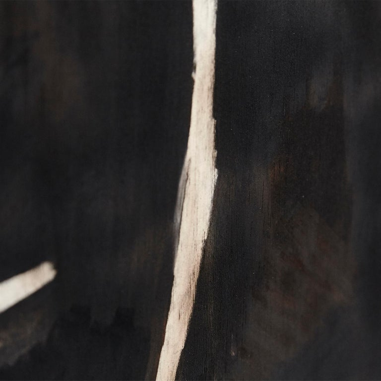 Adrian Contemporary Art Abstract Black Painting on Wood For Sale 3