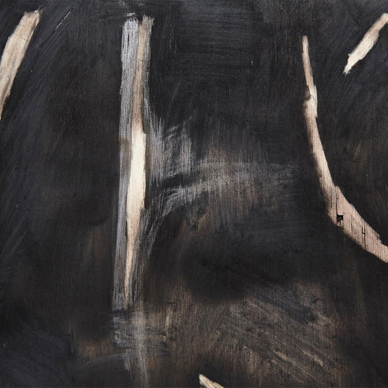 Adrian Contemporary Art Abstract Black Painting on Wood For Sale 4