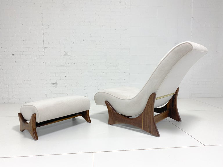 Adrian Pearsall adjustable lounge chair with ottoman. Fully restored. Refinished walnut frames with new Italian silk/cashmere velvet upholstery.