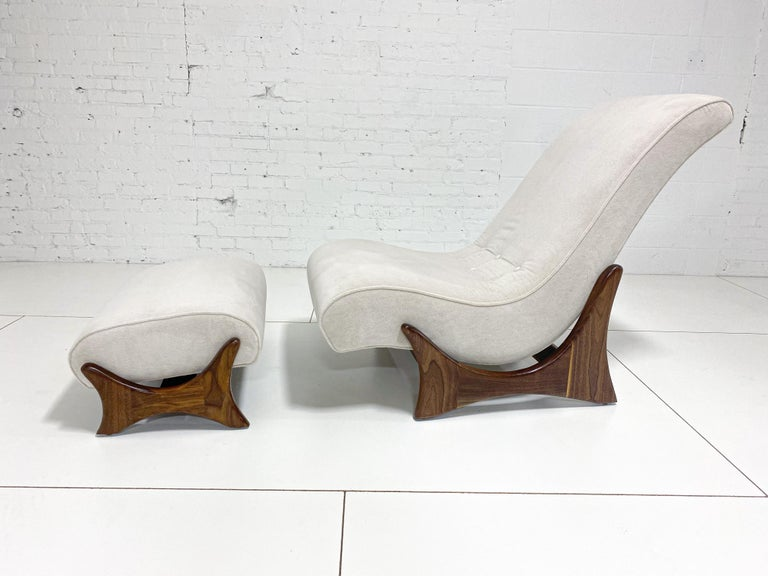 American Adrian Pearsall Adjustable Lounge Chair with Ottoman For Sale