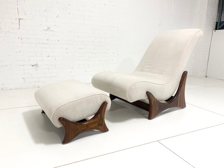 Adrian Pearsall Adjustable Lounge Chair with Ottoman In Excellent Condition For Sale In Chicago, IL