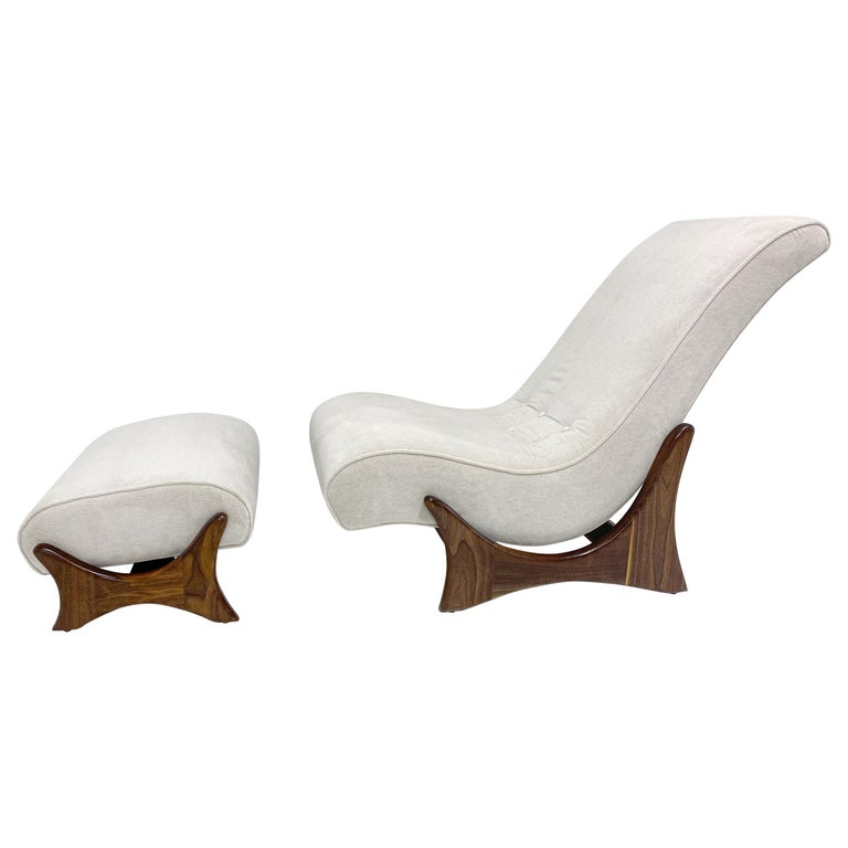 Adrian Pearsall Adjustable Lounge Chair with Ottoman For Sale
