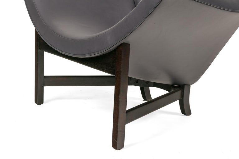 Adrian Pearsall Black Leather Coconut Chair, USA 1960s For Sale 1