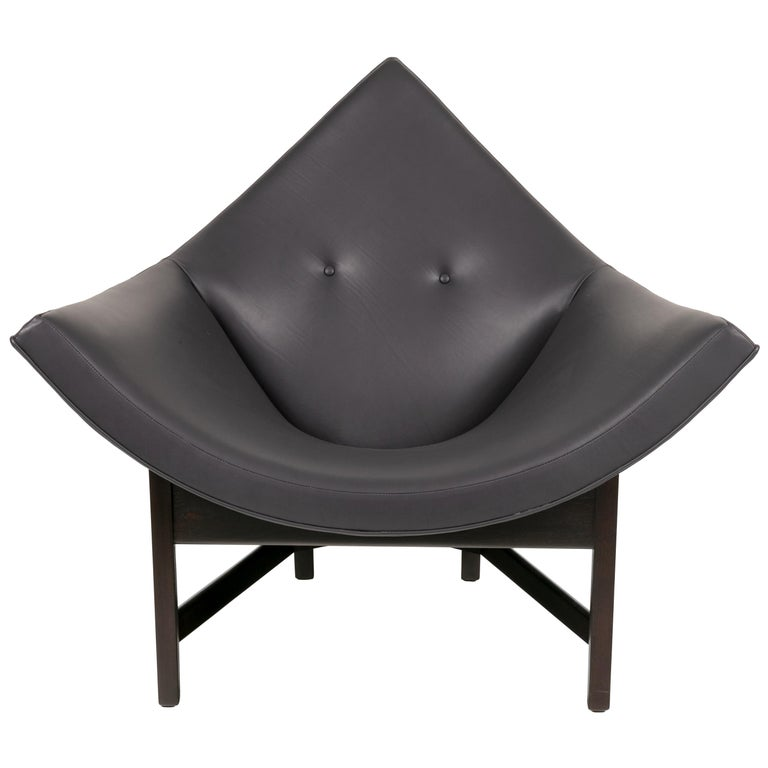 Adrian Pearsall Black Leather Coconut Chair, USA 1960s For Sale
