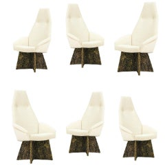 Adrian Pearsall Brutalist High Back Dining Chairs for Craft Associates