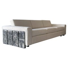 Adrian Pearsall Brutalist Panel Sofa in Ivory Boucle
