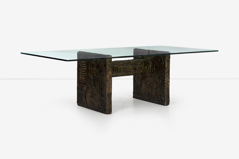 Adrian Pearsall Brutalist style dining table or desk, resin designs covered over wood structure. Measures: 3/4