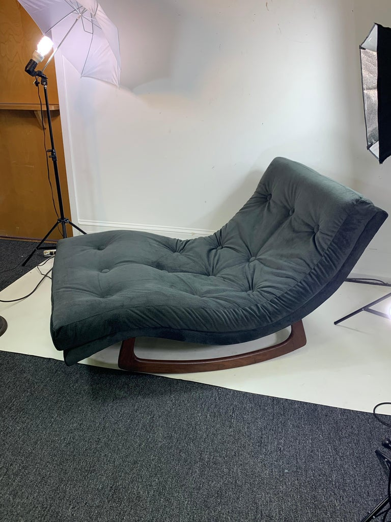 Great grey velvet button tufted upholstered chaise lounge constructed of a walnut biomorphic base designed by Adrian Pearsall in the 1960s.This chaise lounge is a rocker style.