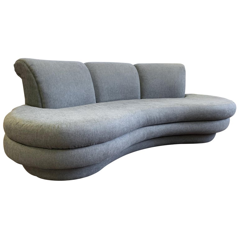 Adrian Pearsall Cloud Sofa for Comfort Designs Newly Upholstered in Slate Gray For Sale