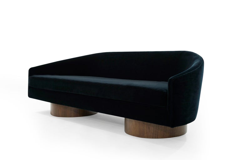 20th Century Adrian Pearsall Cloud Sofa in Deep Blue Mohair For Sale