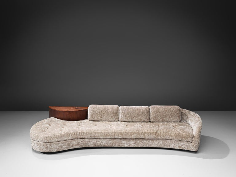 Mid-Century Modern Adrian Pearsall Cloud Sofa in Fabric and Walnut For Sale