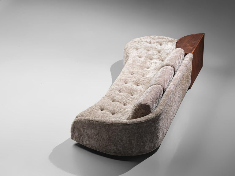 Adrian Pearsall Cloud Sofa in Fabric and Walnut In Fair Condition For Sale In Waalwijk, NL