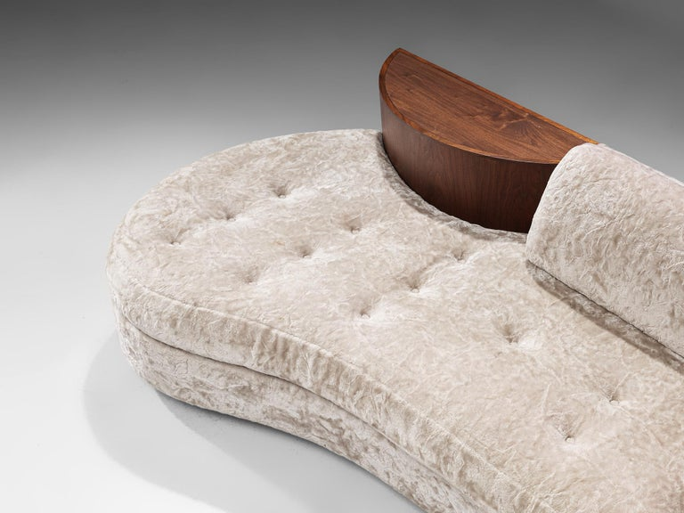 Mid-20th Century Adrian Pearsall Cloud Sofa in Fabric and Walnut For Sale