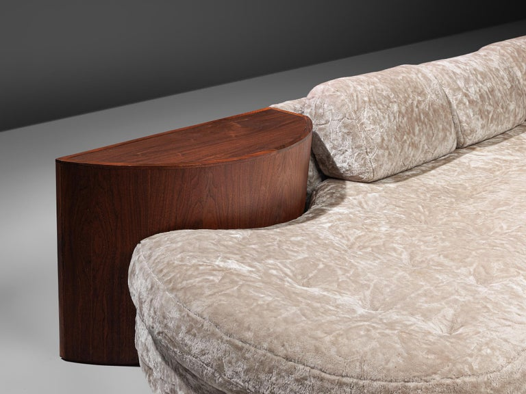 Adrian Pearsall Cloud Sofa in Fabric and Walnut For Sale 1